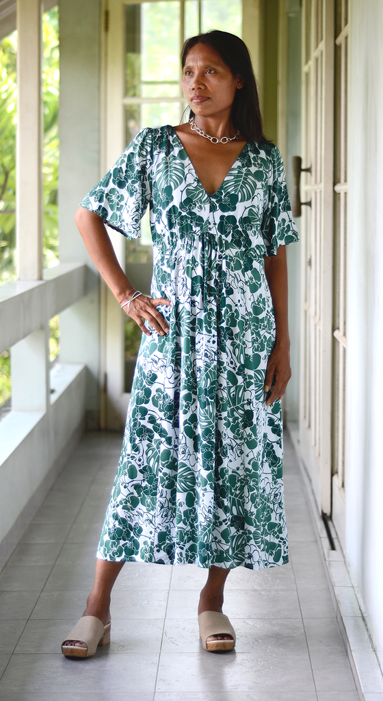 1940's Frock Dress | Orchid Emerald (3 sizes)