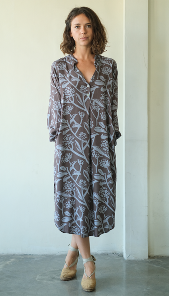 Blouse Dress | Frangipani Mocha Blue (3 sizes)