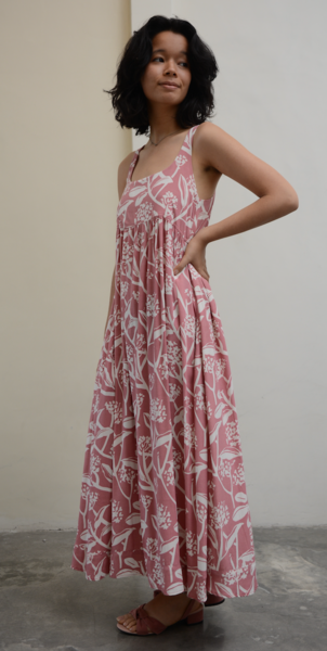 Clothing - Romantic Dress, Blush Frangipani Rayon, 3 Sizes