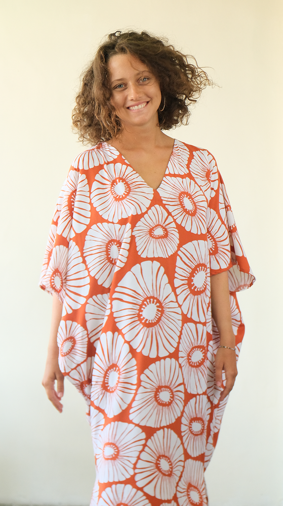 Kaftan Dress | Retro Flower Rust (one size)