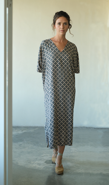 Kaftan Dress | Rings Retro Indigo (one size)