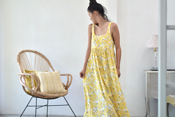 Clothing - Romantic Dress, Yellow Rose Rayon, 3 Sizes