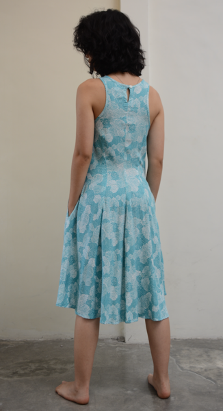 Clothing - Swing Tank Rayon Dress, Teal Spring Flowers, 3 Sizes
