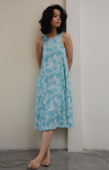 Swing Tank Dress | Spring Flowers Teal (3 sizes)