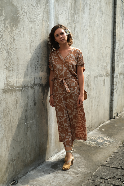 Wrap Jumpsuit | Frangipani Caramel (3 sizes) - SALE