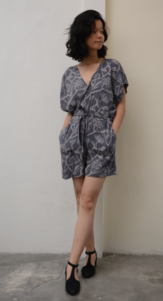 Wrap Romper | Frangipani Stormy (3 sizes) - SALE