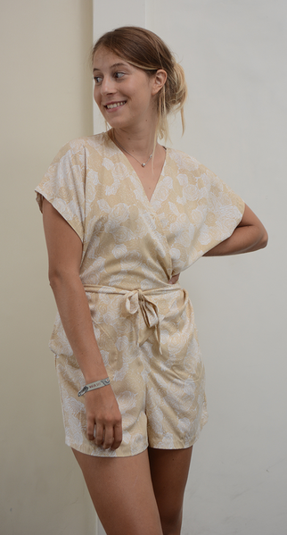 Wrap Romper | Spring Flowers Beige (3 sizes) - SALE