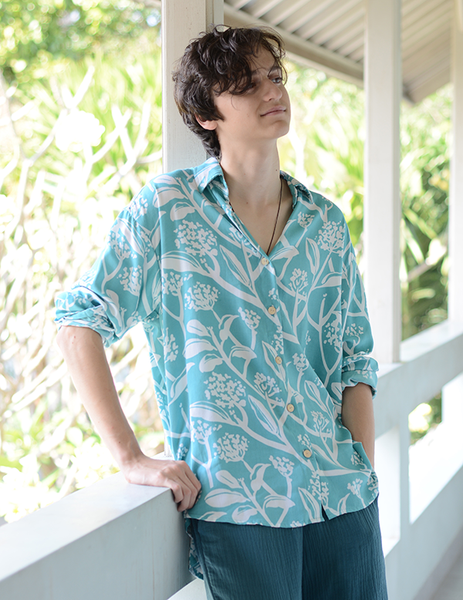 Shirt | Frangipani Teal (3 sizes) - SALE