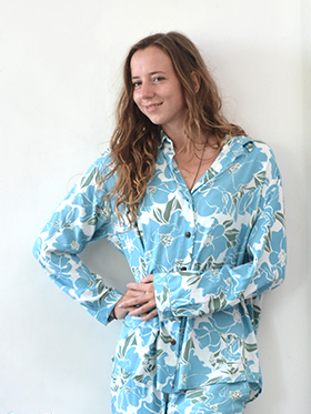 Clothing - Long sleeve shirt, Teal Rose Rayon, 3 sizes - SALE