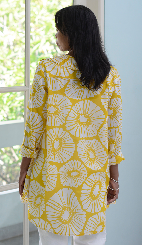 Voile Shirt | Retro Flowers Yellow (3 sizes)