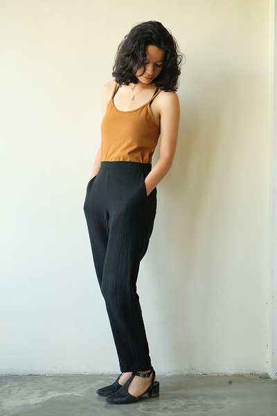 Cotton Crinkle Slim Pants | Black (3 sizes)
