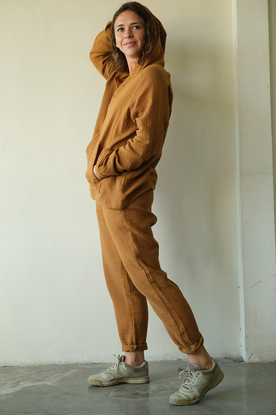 Cotton Crinkle Slim Pants | Caramel (3 sizes) - SALE