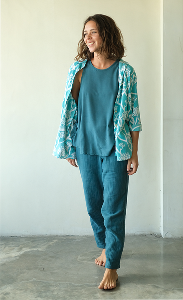Frangipani Teal Rayon Shirt, 3 Sizes