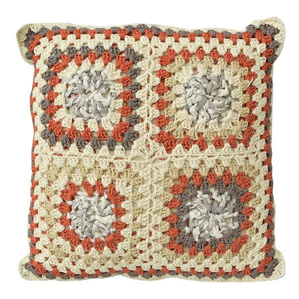 Cushion Cover Crocheted | Upcycled Granny Spicy (Medium)
