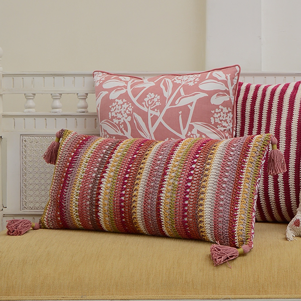 Cushion Cover - Warm Confetti Stripe Crocheted