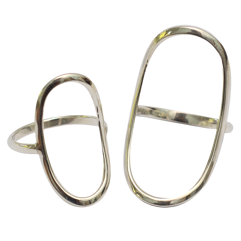 Sterling Silver Oval Collection | Oval Rings Set of 2 (3 sizes)