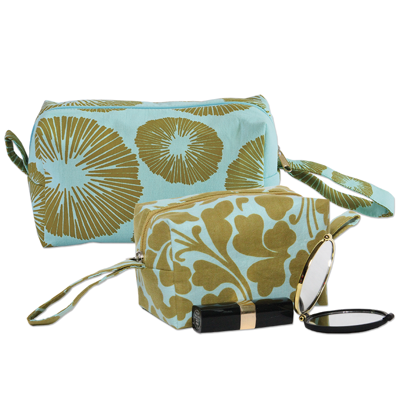 Cosmetic Case | Olive Aqua set of 2 (med & small)