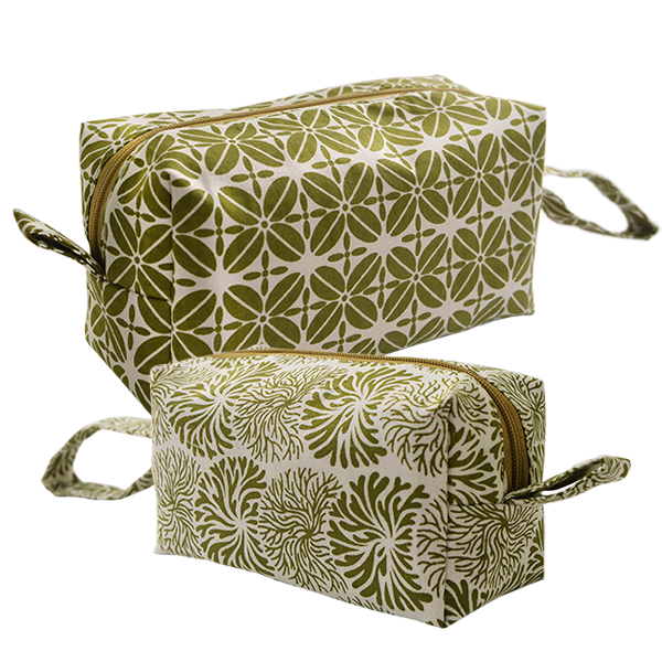 Cosmetic Case | Avocado set of 2 (med & small)