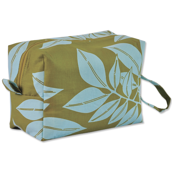 Bags & Cases - Cosmetic Case Olive Aqua Leaf Large