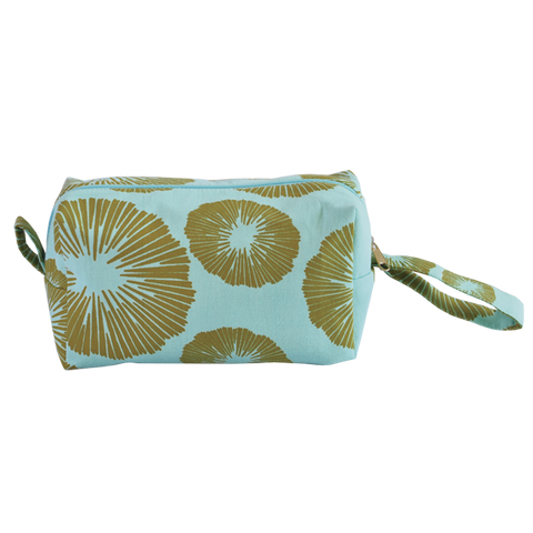 Bags & Cases - Cosmetic Case Olive Aqua Seaflowers Medium