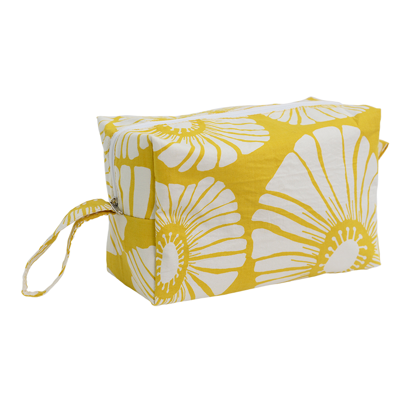 Cosmetic Case | Retro Flowers Yellow (large)