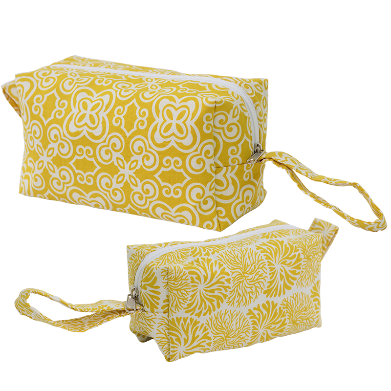 Cosmetic Case | Yellow set of 2 (med & small)