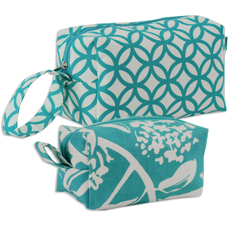 Cosmetic Case | Turquoise set of 2 (med & small)