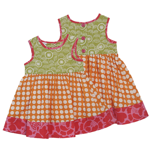 Little Scrappy Sun Dress - Orange Dots in 5 sizes