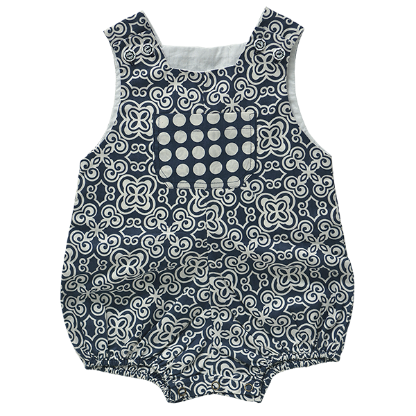 Cotton Romper - Indigo in 3 sizes