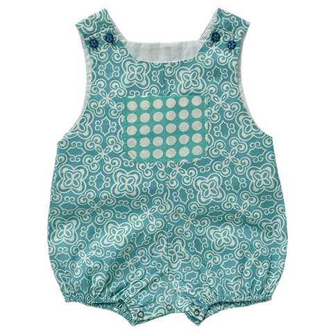 Cotton Romper - Turquoise in 3 sizes