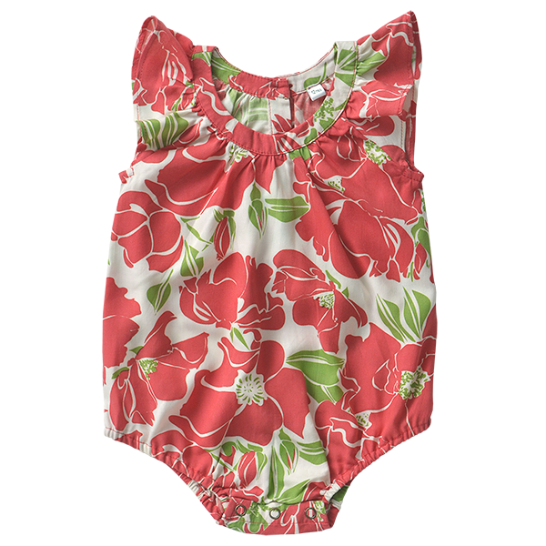Rayon Romper - Red Rose in 3 sizes