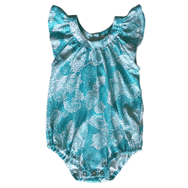 Little Rayon Romper - Cool Spring Flowers in 3 sizes