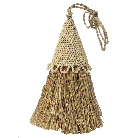 Cream Beaded Vetiver Tassel