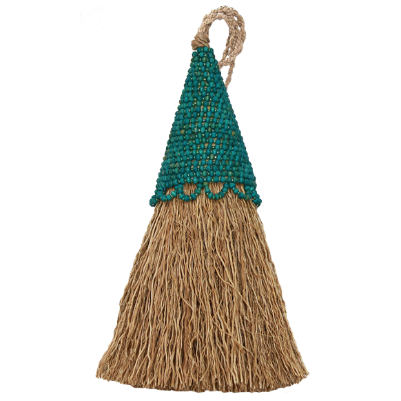 Vetiver Tassel | Teal Beaded
