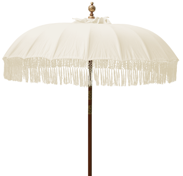 Balinese Umbrella | Natural with Fringe