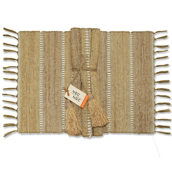 Vetiver Placemat | Beige Stripes (set of 6)
