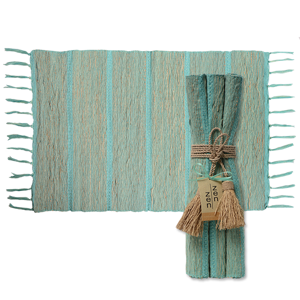 Vetiver Placemat | Pistachio Aqua Stripes (set of 6)