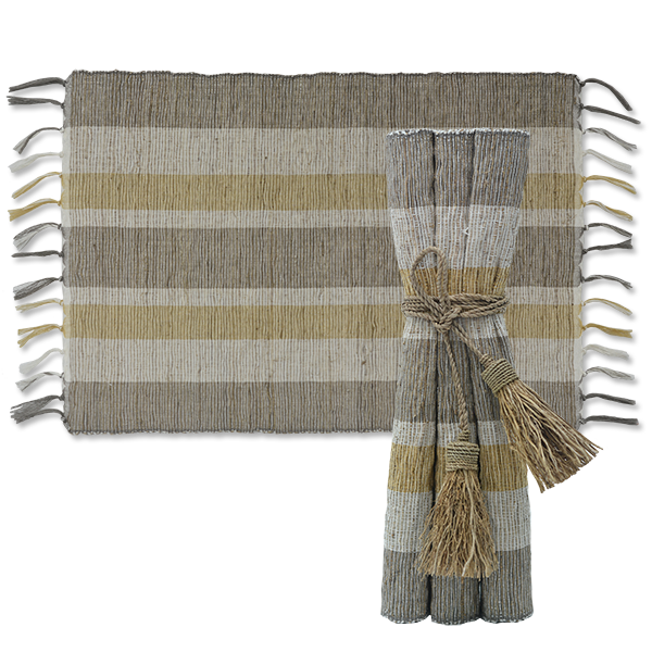 Placemat - Indian Summer Stripes Vetiver - Set of 6