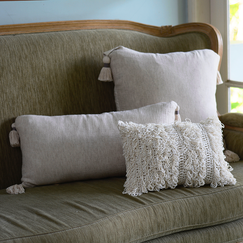 Cushion Cover Tasseled Long | Natural Linen/Cotton Crinkle (set of 2)