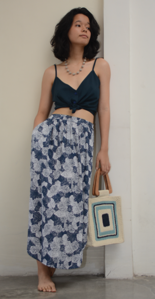 Easy Skirt | Spring Flowers Indigo (3 sizes)