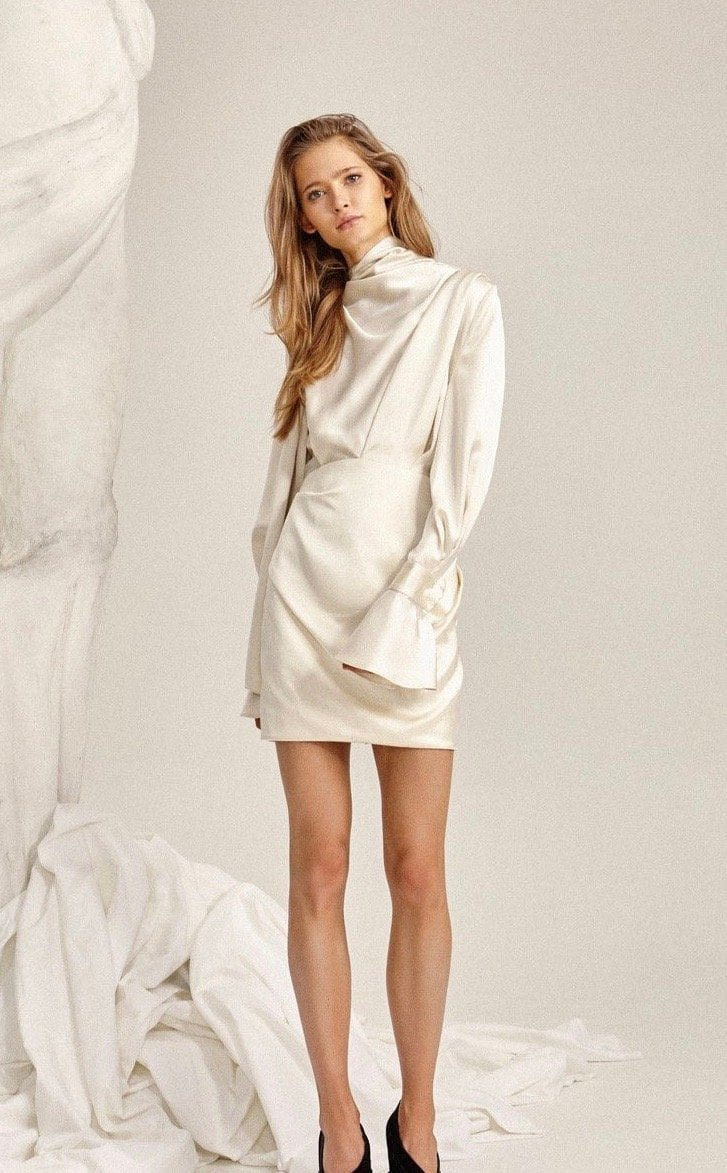 Soto Tie-Neck Tucked Mini Dress Robe ACLER