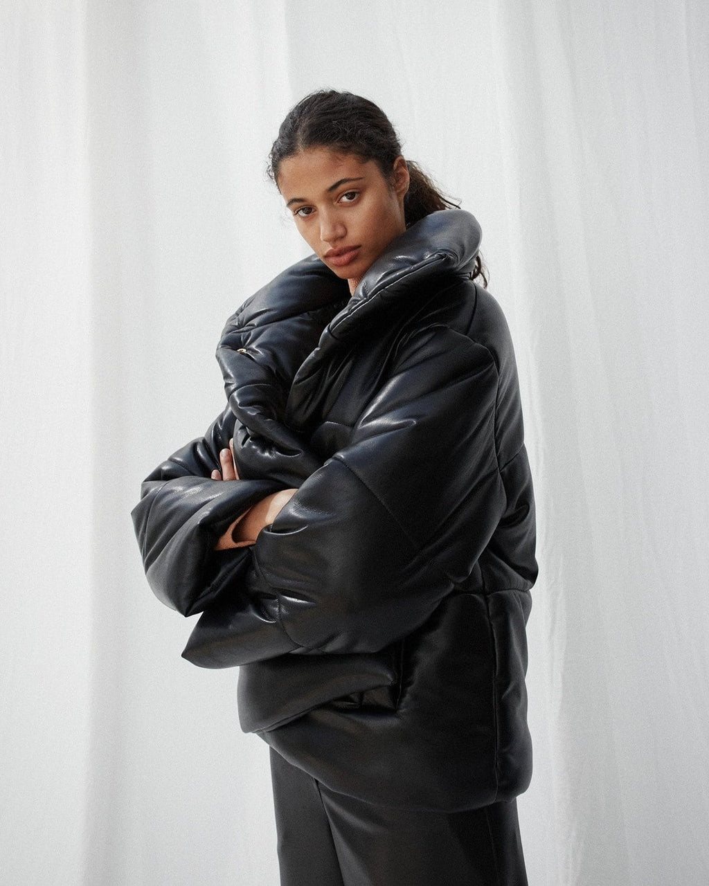 Nanushka Black Hide Vegan Leather Puffer Coat