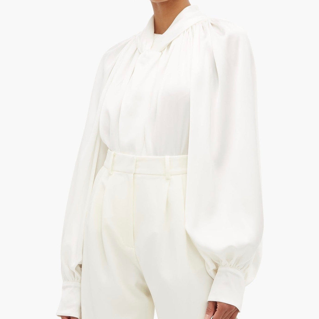 A.W.A.K.E White Draped Tie-Detailed Crepe De Chine Blouse