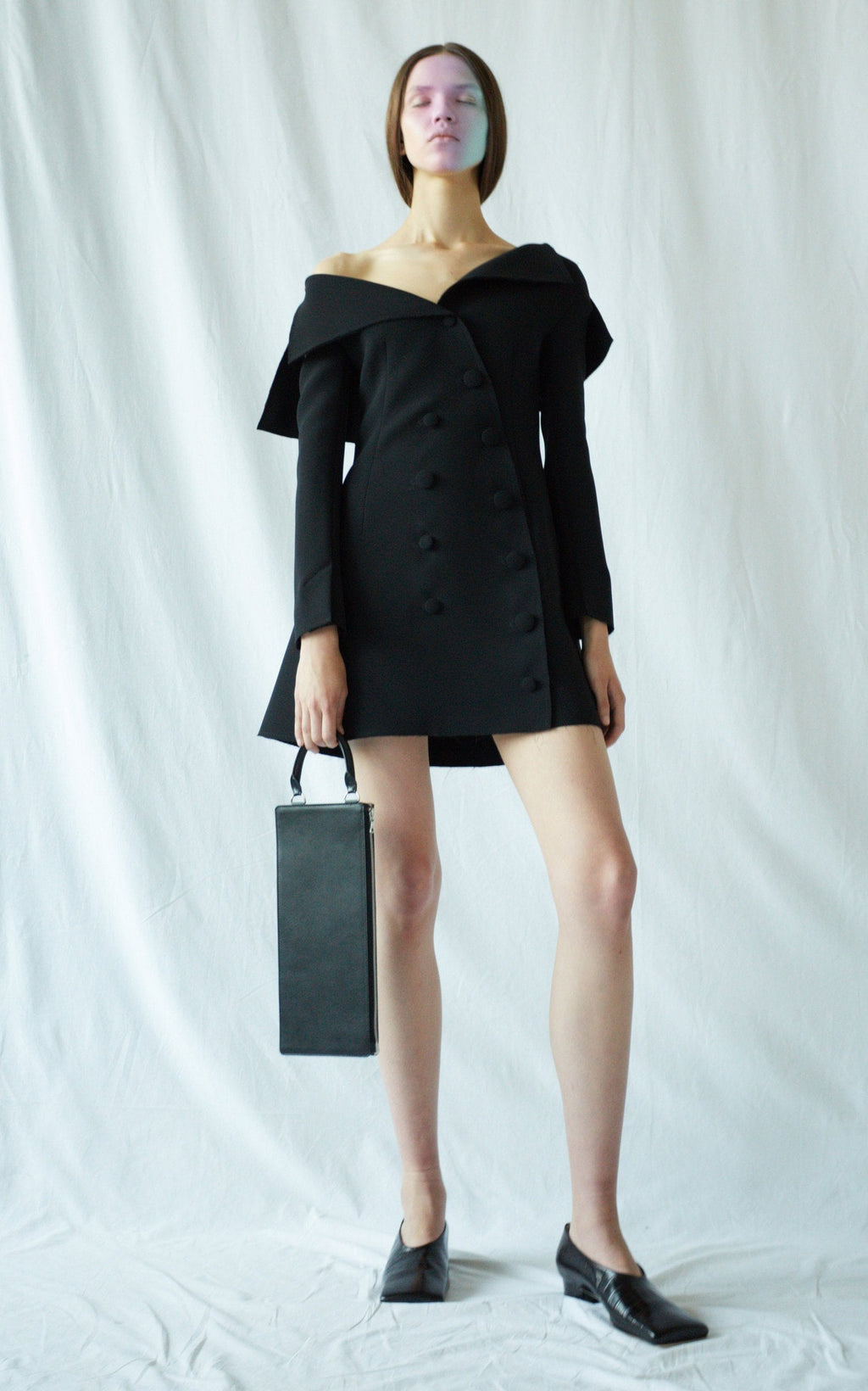 Off-the-shoulder Fitted Jacket-dress Robe A.W.A.K.E MODE