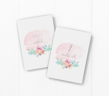 Floral Water Colour-Milestone Cards