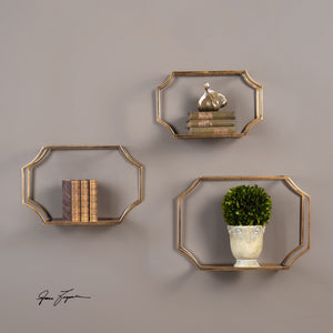 Lindee Gold Wall Shelves, S/3