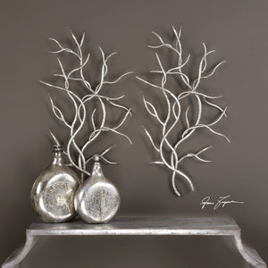 Silver Branches Metal Wall Art S/2 - taylor ray decor