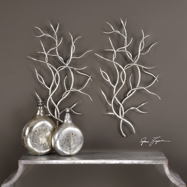 Silver Branches Metal Wall Art S/2