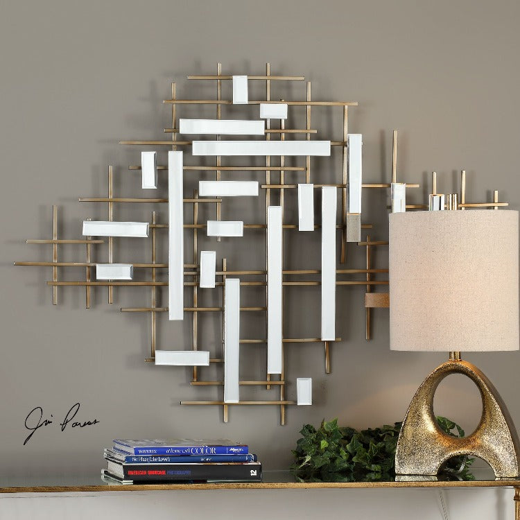 Apollo Gold & Mirrored Wall Art - taylor ray decor