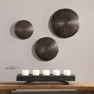 Hanneli Ribbed Bronze Circles S/3